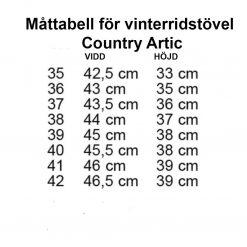 Måttabell contry artic vinerridstövel