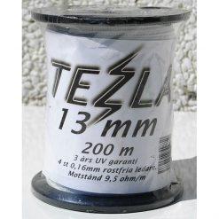 Tezla Elband 13mm 200 Meter med 4 st 0,16mm rosttfria ledare. 200 m i rullen. Motstånd 9,5 Ω/m 3 års UV garanti.