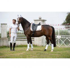 Huva Golden Gate Lauria Garrelli på häst med matchande shabrak och benlindor