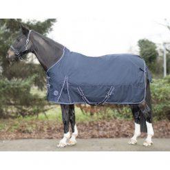 Regntäcke med fleecinsida hög hals hkm starter marinblå på häst